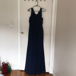 NWT Navy Maxi lace Simple Prom Dress Sz 4